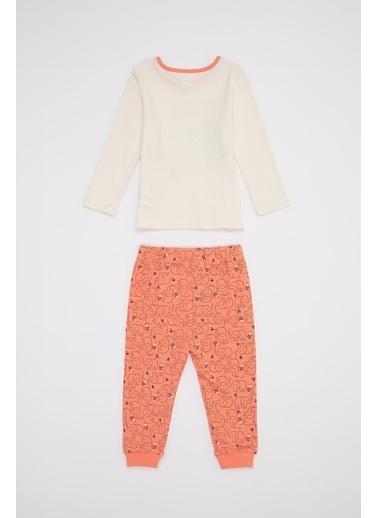 DeFacto Kız Bebek Baskılı Pijama Takımı Ekru